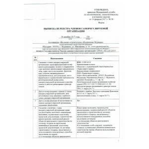 Выписка из реестра членов СРО стр. 1
