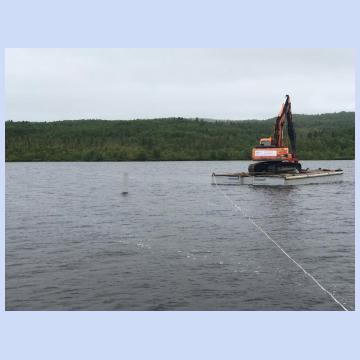 Погружение турбошпунта в прибрежной линии. Строительство водозаборной станции.